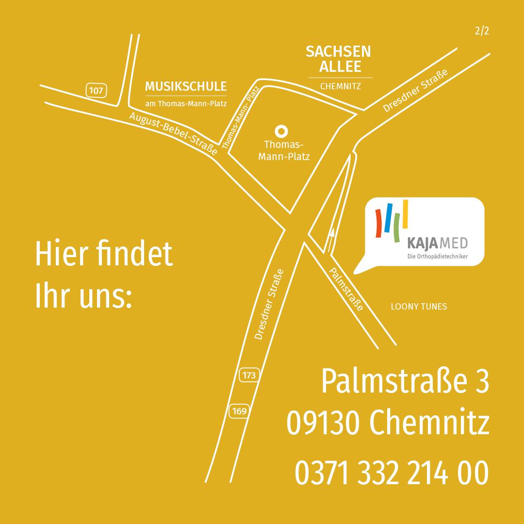 Anfahrt Kajamed Filiale Chemnitz