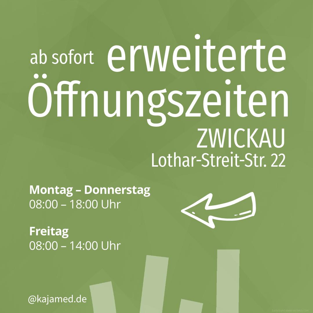 Wir freuen uns auf euch. Ab sofort gelten unsere erweiterten Öffnungszeiten für unseren Hauptsitz in Zwickau und die Filiale in Chemnitz: Montag -Donnerstag 08:00 - 18:00 Uhr und Freitag 08:00 - 14:00 Uhr